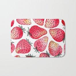 Strawberries watercolor and ink  Bath Mat