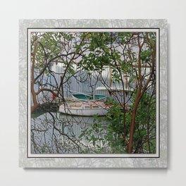 BOATHOUSE THROUGH MADRONA TREES Metal Print