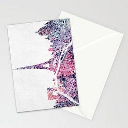 Paris Skyline + Map #1 Stationery Cards