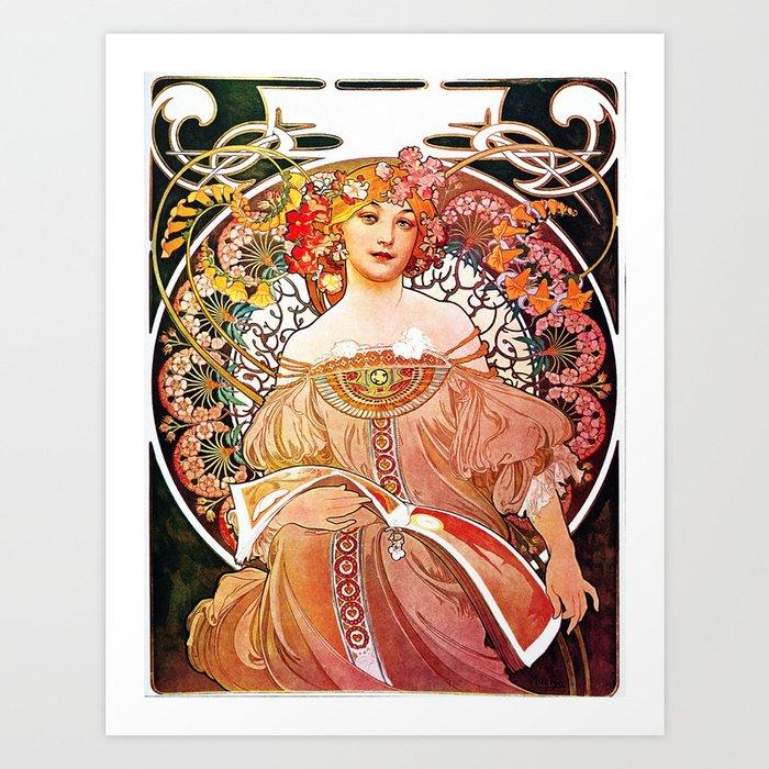Alphonse Mucha Daydream Floral Vintage Art Nouveau Art ...