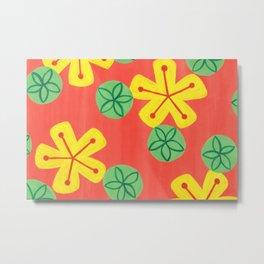 Retro Bright Floral Metal Print