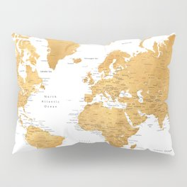 For God so loved the world, world map in gold Pillow Sham