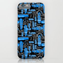 Gamer Lingo-Black and Blue iPhone Case