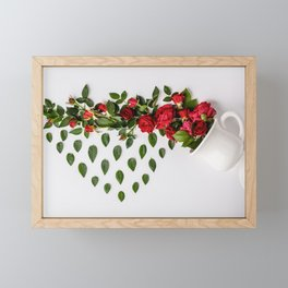 Reative image of white cup with red roses Framed Mini Art Print