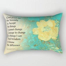 Serenity Prayer Peony Yellow Turquoise Rectangular Pillow