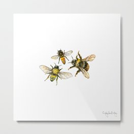 Three Bees Metal Print
