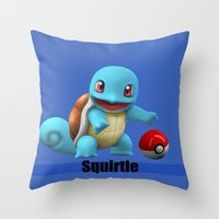 squirtle Throw Pillows featuring Squirtle by Yamilett Pimentel