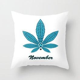 Birthstoned Leaf of Month, November Blue Topaz Throw Pillow