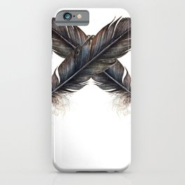 X - Black feathers    , crow, iPhone Case