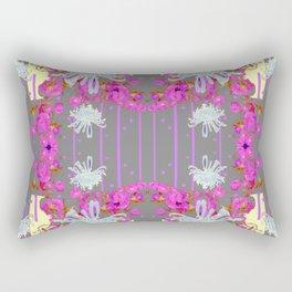 Pink Flowers White Mums Grey Color Garden Art Rectangular Pillow