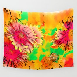 Fall Flowers In Soft Abstract Wall Tapestry