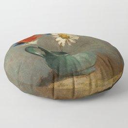 """Odilon Redon """"Pichet au Coquelicot et a la Marguerite"""" Floor Pillow"""