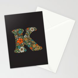 Hippie Floral Letter K Stationery Cards