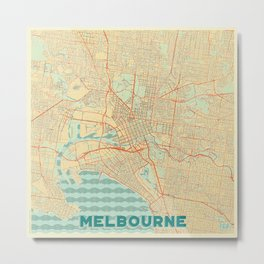 Melbourne Map Retro Metal Print