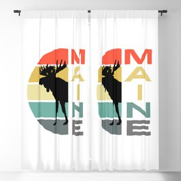 Maine Moose Retro Vintage Acadia Nature Blackout Curtain