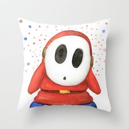 Confused Shy Guy Throw Pillow