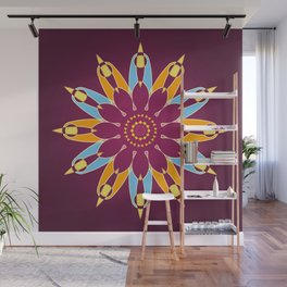 Purple background and a colorful circle pattern Wall Mural