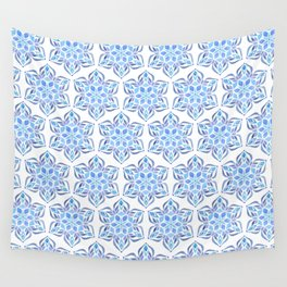 Blue Snowflake Wall Tapestry
