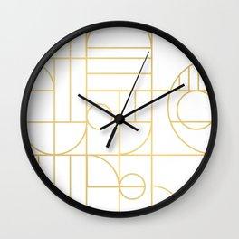 Minimalist Mid Century Modern Gold Pattern Wall Clock