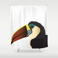 toucan Shower Curtains featuring Toucan by Frida Strömshed