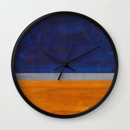 Minimalist Mid Century Rothko Color Field Navy Blue Yellow Ochre Grey Accent Square Colorblock Wall Clock