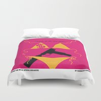 selena Duvet Covers featuring No218 My SPRING BREAKERS minimal movie poster by Chungkong