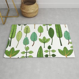Abstract forest green orange neo mint leaf pattern Rug