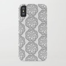 Silver grey lace floral iPhone X Slim Case