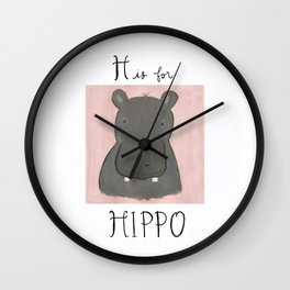 H is for Hippo Wall Clock
