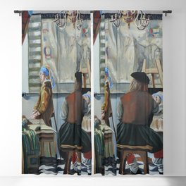 Vermeer paints 'The girl with a pearl earring' Blackout Curtain