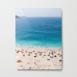 Beach, Coastal, Ocean, Sea, Water, Nature, Modern, Minimal, Interior, Wall art Metal Print