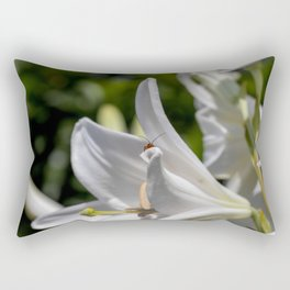 Red insect smiling on a lily Rectangular Pillow