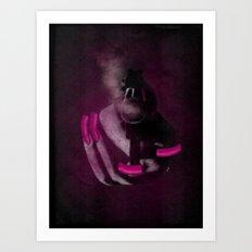 Bang Bang Gun Smoke  Pink Grunge Nails  Art Print