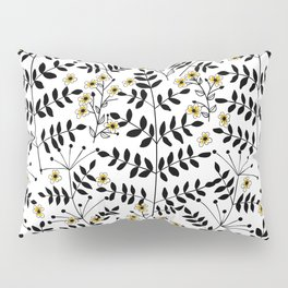 Branches with flowers in black and yellow Pillow Sham