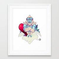 snowboard Framed Art Prints featuring Snowboard Yeti by garciarts