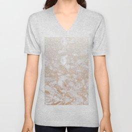 Elegant white faux glitter stylish marble pattern Unisex V-Neck