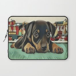 Doberman Puppy Protecting the 027 Railroad Laptop Sleeve
