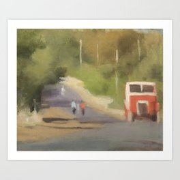 Clarice Beckett, The Red Bus Art Print