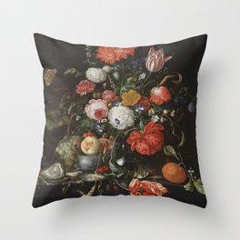 Jan Davidsz de Heem - Flower Still Life with a Bowl of Fruit and Oysters (c.1665) Throw Pillow