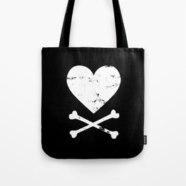 Heart and Crossbones - White Tote Bag