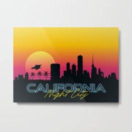 Night City California Synthwave Skyline Cyberpunk Metal Print