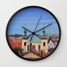 View of colorful old town in Prague Wall Clock