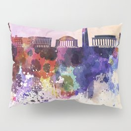 Washington DC skyline in watercolor background  Pillow Sham