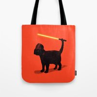 darth Tote Bags featuring Cat Vader by nicebleed