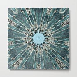 Ocean Seawave Glass Mandala Metal Print