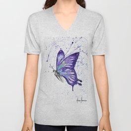 Lavender Butterfly Unisex V-Neck