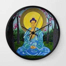 Meditation in bloom Wall Clock