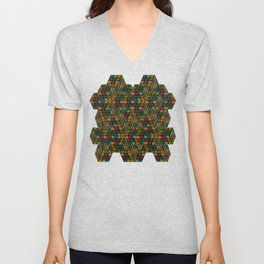 Rubik in optical illusion (structure and pattern) Unisex V-Neck