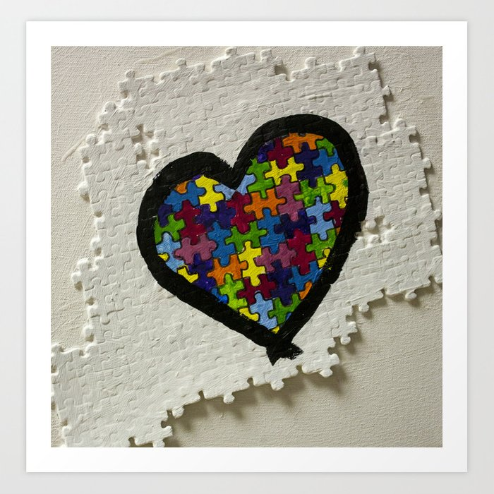 Autism Awareness Art Posters Framed Artwork: Autism Awareness Heart Art Print By Christineclancy