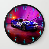 mustang Wall Clocks featuring Wild Mustang by JT Digital Art